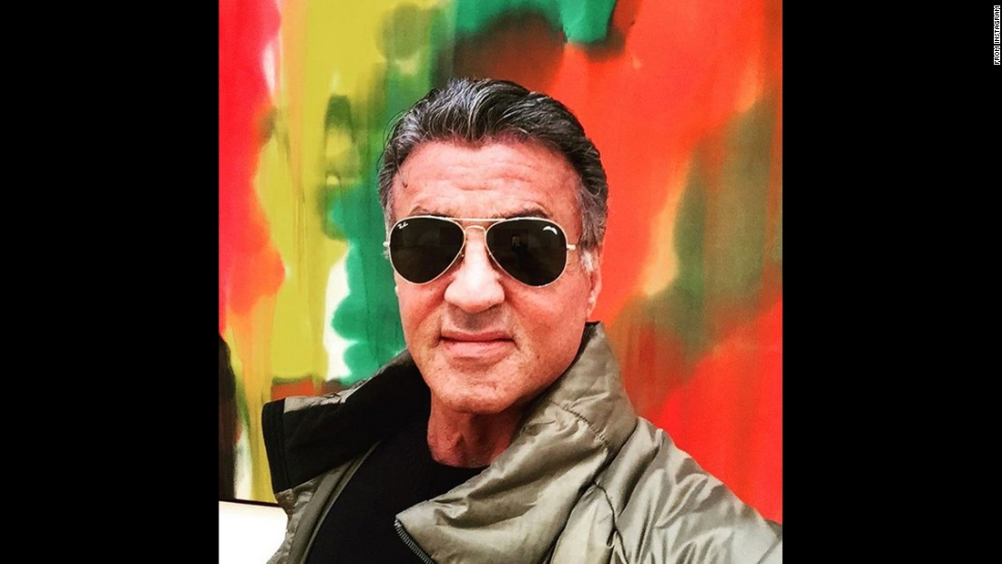 "Actor Sylvester Stallone checks out some art while in Atlanta on Sunday, March 6. ""Very inspiring,"" <a href=""https://www.instagram.com/p/BCoFxxARxXG/?taken-by=officialslystallone&hl=en"" target=""_blank"">he said on Instagram.</a>"