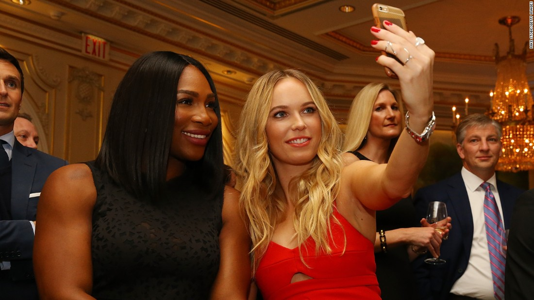 Tennis stars Serena Williams, left, and Caroline Wozniacki take a selfie in New York during the World Tennis Day Celebration on Monday, March 7.