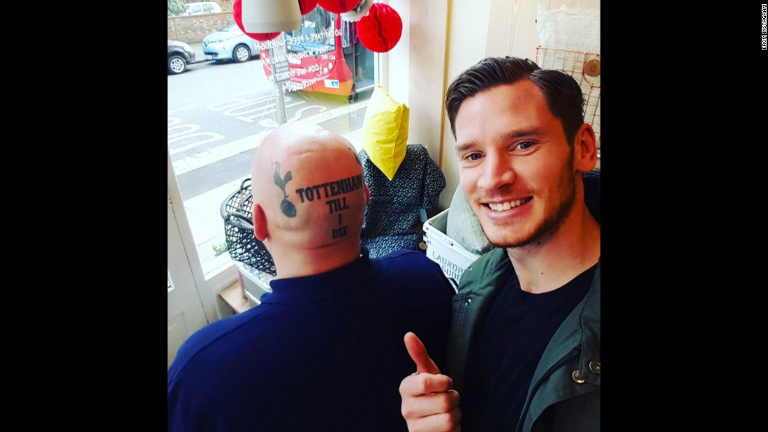 "Jan Vertonghen, a player with English soccer club Tottenham Hotspur, takes a selfie with a tattooed fan on Thursday, March 3. ""Had to take a picture with this guy!"" <a href=""https://www.instagram.com/p/BCfsnWlM76W/?taken-by=jvertonghen&hl=en"" target=""_blank"">he said on Instagram.</a>"
