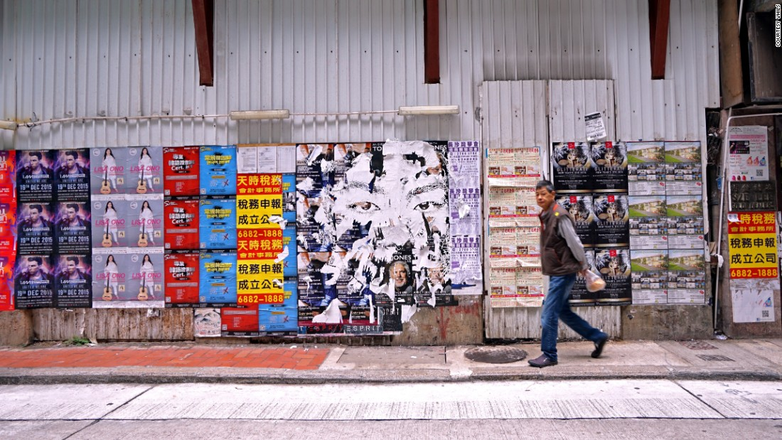 The cacophony of advertisements plastered across Hong Kong was rich fodder for the artist. This is one of his works created last year on Hillier Street, Sheung Wan, a neighborhood close to the Central business district. It's since been plastered over. Alongside his works on the streets, Vhils' art appears at auction. This month, his works are part of a private sale at Sotheby's Hong Kong Gallery.