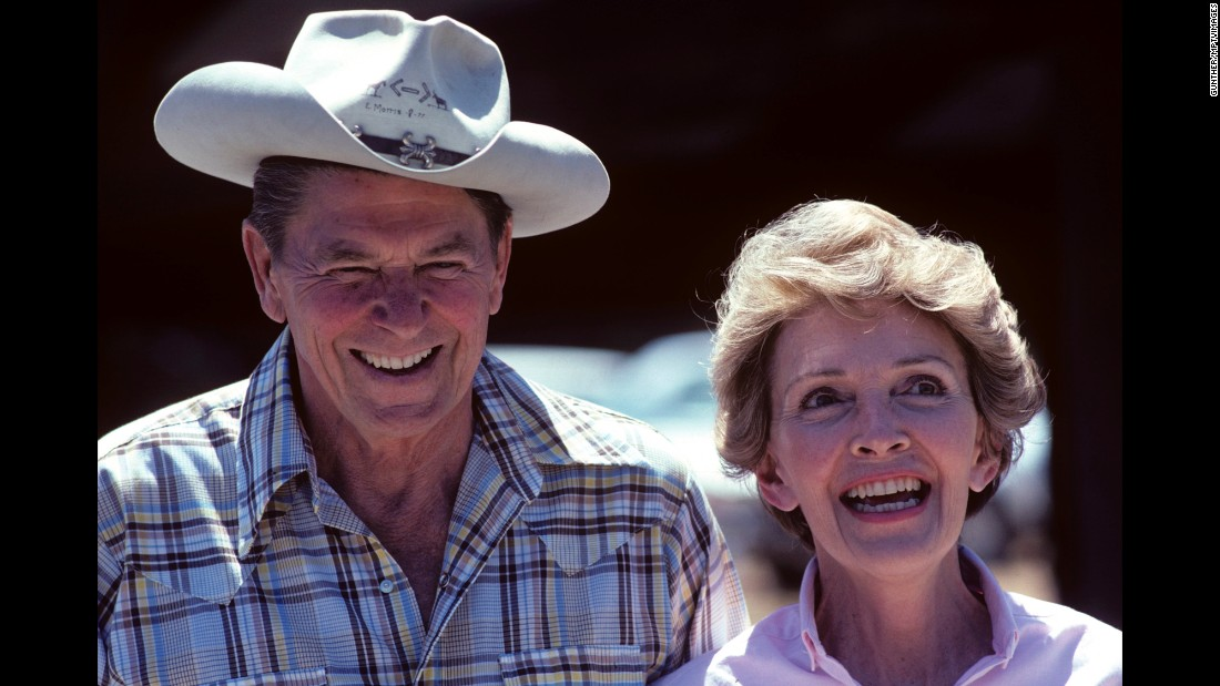 "Former U.S. President Ronald Reagan and his wife, Nancy, laugh at their ranch in Santa Ynez, California, in 1980. Nancy <a href=""http://www.cnn.com/2016/03/06/politics/nancy-reagan-dies-obit/index.html"" target=""_blank"">died</a> Sunday, March 6, at the age of 94."