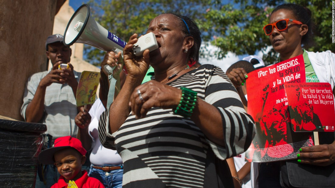 Women demonstrate in Santo Domingo, Dominican Republic, on March 8.