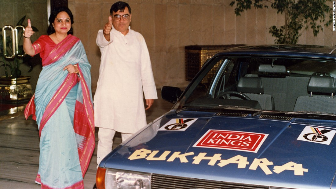 "In 1989, husband and wife Saloo and Neena Choudhury traveled over six continents by car in 69 days, 19 hours and 15 minutes. The couple drove a 1989 Hindustan ""Contessa Classic,"" starting and finishing in Delhi, India."