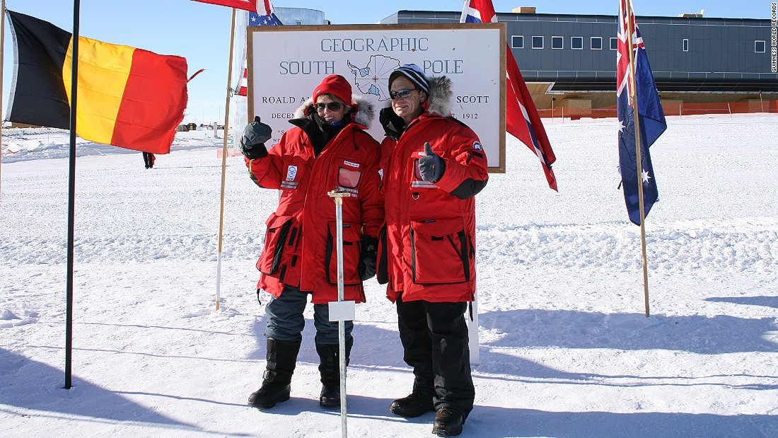 Jennifer Murray and Colin Bodill circumnavigated the world via the North and South Poles in 170 days, 22 hours and 47 minutes by helicopter. The journey started and finished in Fort Worth, Texas, and was completed in May 2007.