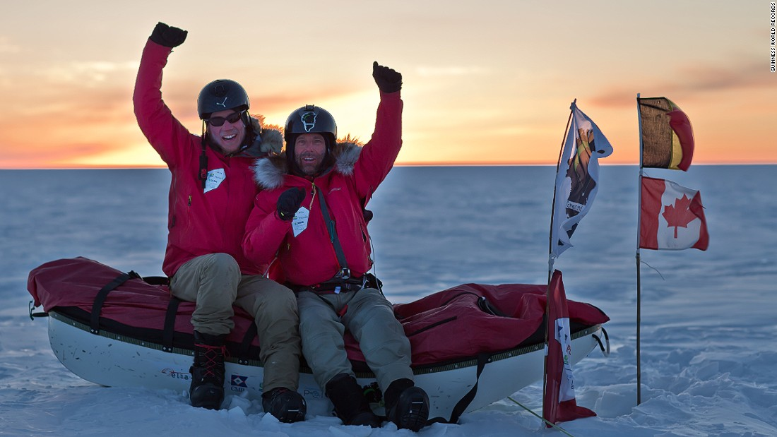 Dixie Dansercoer and Eric McNair-Landry accomplished this feat in 2014. Their 4,045-kilometer trip was kite-supported, and passed both the world's largest island and second largest ice body.