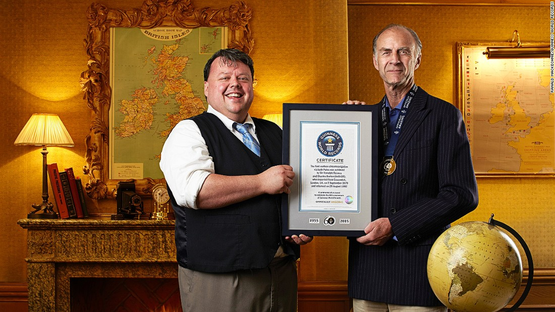 Sir Ranulph Fiennes (right, with Guinness World Records' Craig Glenday) and Charles Burton completed the first surface navigation via both geographical poles. They completed their trip in August 1982.