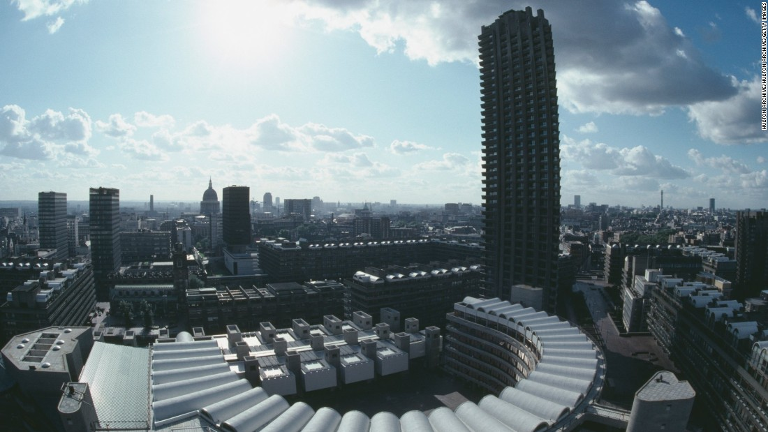 The Barbican Estate, London, circa 1985. Built on a site destroyed by German bombs in World War II, today it is a mixture of residential accommodation (including Lauderdale Tower, pictured), offices and a hub for the performing arts.