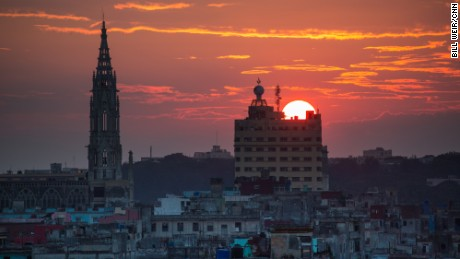The sun sets on Havana, a city of over two million people.