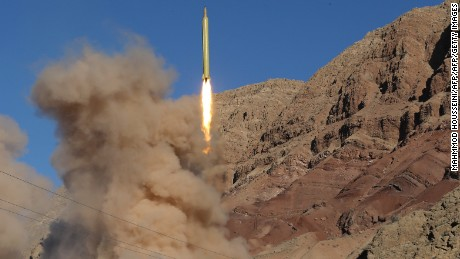 A Qadr ballistic missile is launched in northern Iran on March 9, 2016.