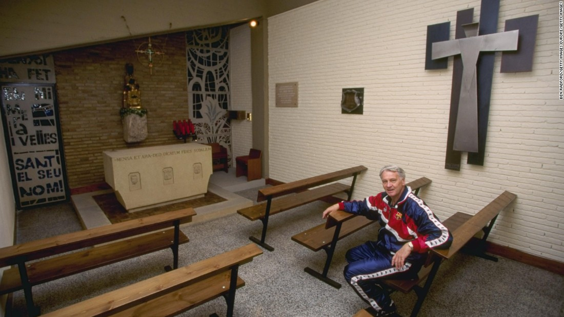 The Camp Nou has a chapel next to the dressing rooms. Former manager Bobby Robson is pictured inside the chapel in 1996.
