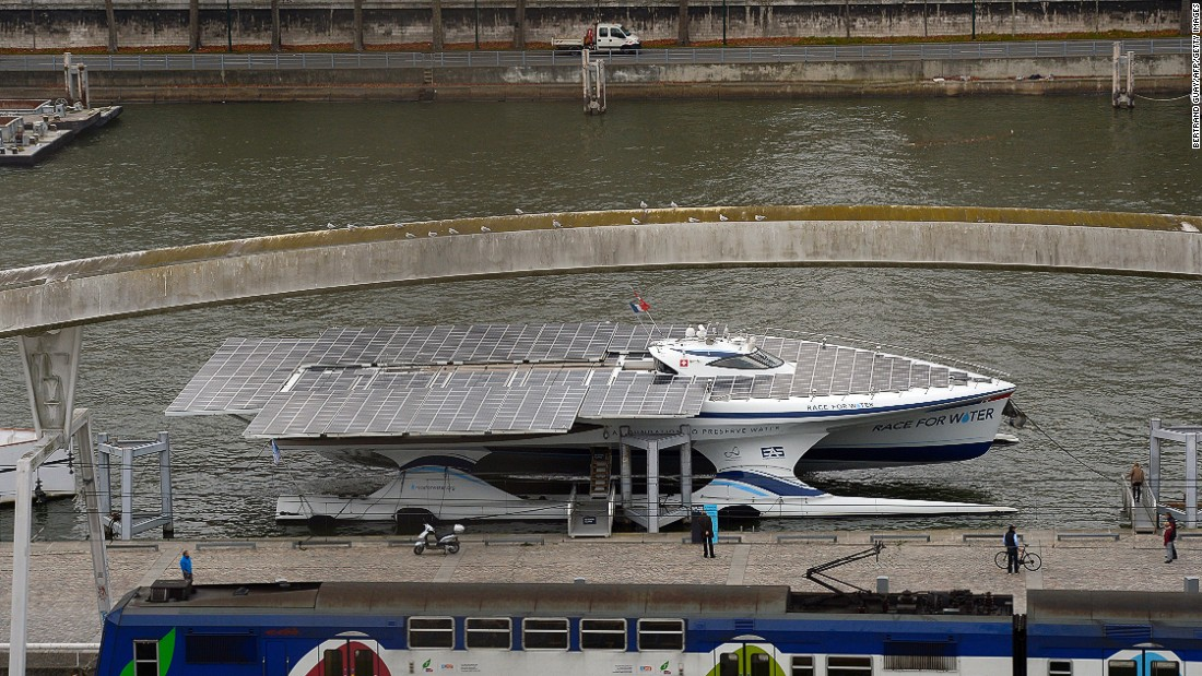 The MS Turanor PlanetSolar circumnavigated the world in a westward direction from Monaco in one year, seven months and seven days, operating on solar power only. The trip was completed in 2012.