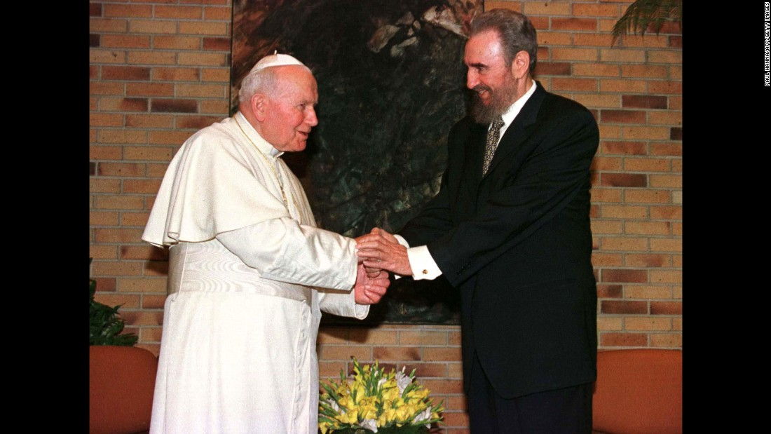 Cuba has also welcomed three Popes since the revolution. Pope John Paul II paid the first-ever papal visit to Cuba in 1998. He was greeted personally by Fidel Castro. The pontiff toured the island nation for five days.