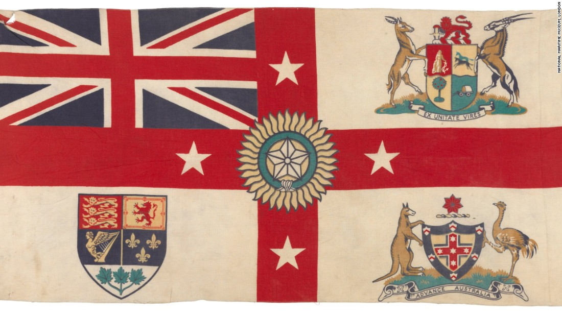 A 1920s version of Britain's White Ensign flag features the coat of arms of South Africa, Australia and Canada in the quarters, and the Star of India in the center. New Zealand is represented by four white stars on the red cross. <br />