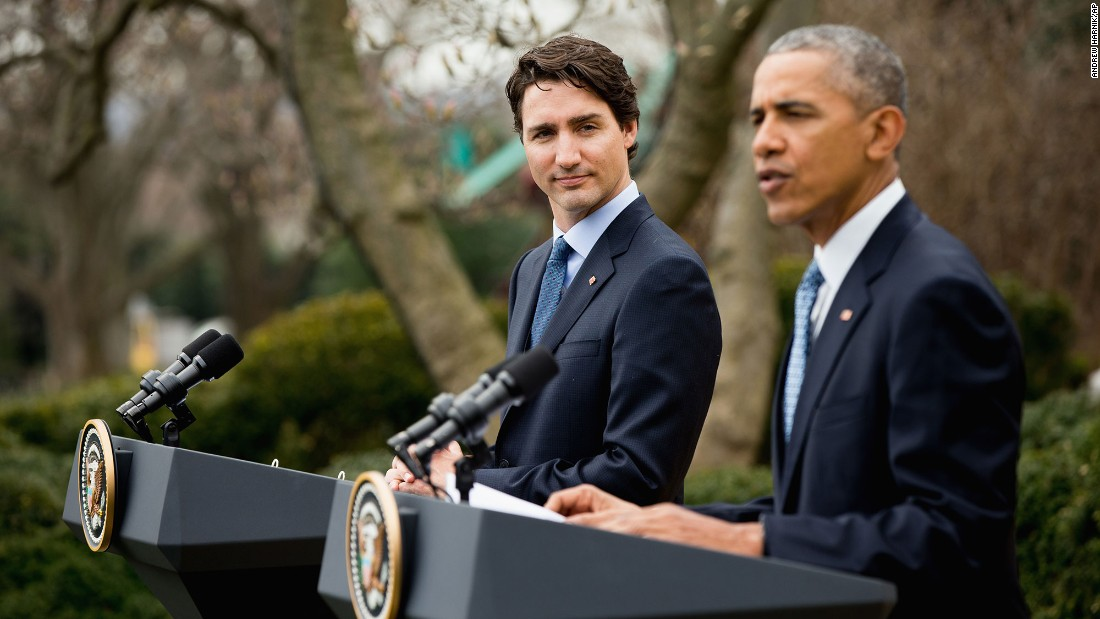 "Trudeau listens as Obama speaks during a bilateral news conference in the Rose Garden of the White House on March 10. ""No two nations agree on everything,"" Obama said. ""Our countries are no different, but in terms of our interests and values and how we approach the world, few countries match up the way the United States and Canada do."""