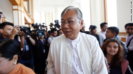 Presidential nominee Htin Kyaw, seen here in Naypyitaw, Myanmar on Feb 1, 2016, is a longtime aide to party leader Aung San Suu Kyi.