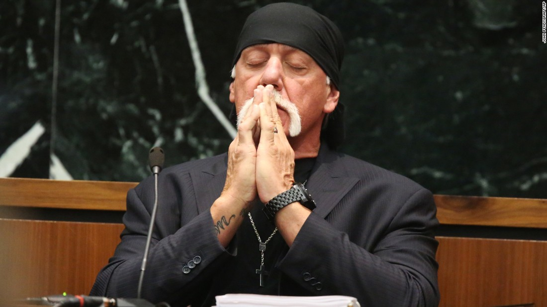 "Former pro wrestler Hulk Hogan takes a moment in court as attorneys talk to a judge in St. Petersburg, Florida, on Tuesday, March 8. Hogan <a href=""http://money.cnn.com/2016/03/07/media/hulk-hogan-court-sex-tape/index.html"" target=""_blank"">is suing Gawker for $100 million,</a> claiming the website invaded his privacy by publishing part of a sex tape in 2012. Gawker contends that its blog post is protected by the First Amendment because Hogan has made his sex life a matter of public interest."