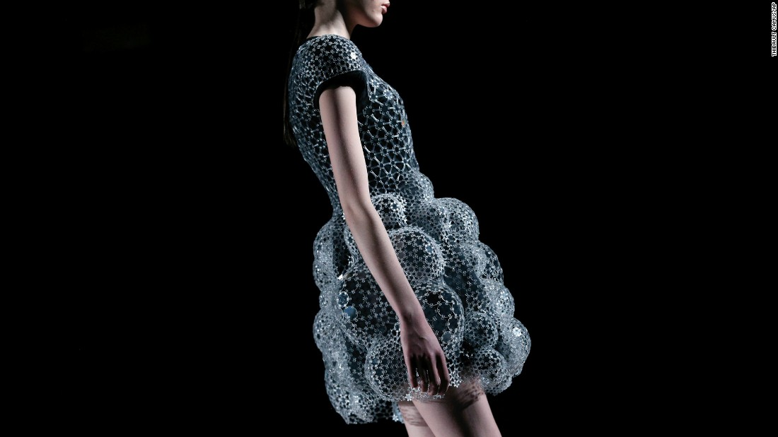 A model wears a creation by Iris Van Herpen during a fashion show in Paris on Tuesday, March 8.