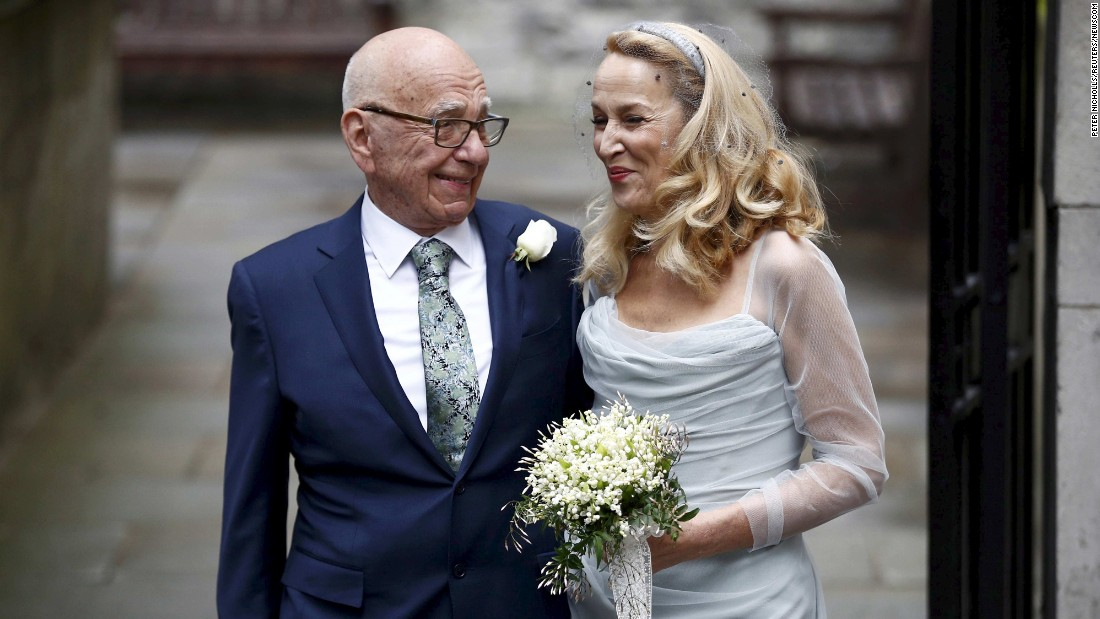 """Global media mogul Rupert Murdoch and his new wife, model Jerry Hall, pose for a photo in London one day after <a href=""""http://www.cnn.com/2016/03/04/europe/murdoch-hall-marriage/"""" target=""""_blank"""">they were married</a> on Friday, March 4."""