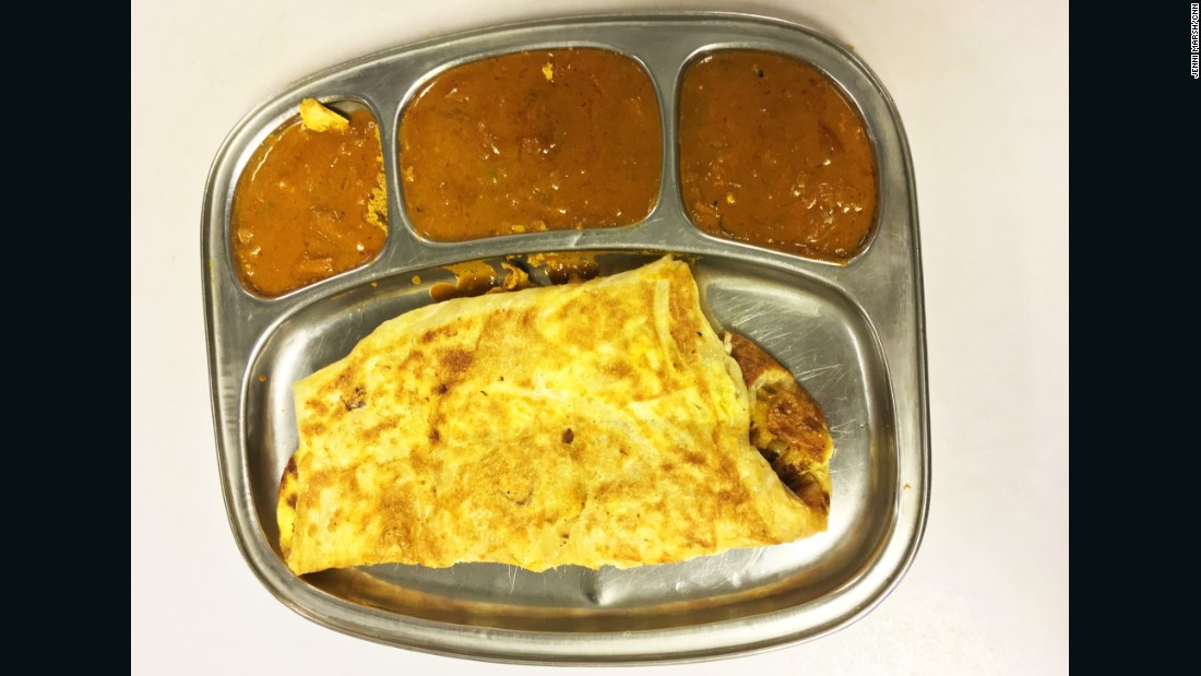 Murtabak -- a pancake stuffed with chicken and onion, served with curry -- is a popular street food in Indonesia.