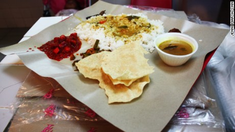 Curry at Singapore airport staff canteen served on piece of baking paper on a tray