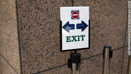 BRUSSELS, BELGIUM - FEBRUARY 19:  An Exit sign stands in the main atrium during the second day of the EU Summit as British Prime Minister David Cameron continues his attempts to negotiate new membership terms for the UK, on February 19, 2016 in Brussels, Belgium. Most of Europe's 28 member state leaders have gathered in Brussels to take part in a crucial summit and vote on British Prime Minister David Cameron's pledge to renegotiate the terms of Britain's membership in the EU, namely proposals to limit benefits for migrant workers. A referendum on whether Great Britain will stay in or leave the European Union is to be held before the end of 2017, though many expect it to take place in June this year. arrives during the second day of the EU Summit as British Prime Minister David Cameron continues his attempts to negotiate new membership terms for the UK, at the Council of the European Union on February 19, 2016 in Brussels, Belgium. Most of Europe's 28 member state leaders have gathered in Brussels to take part in a crucial summit and vote on British Prime Minister David Cameron's pledge to renegotiate the terms of Britain's membership in the EU, namely proposals to limit benefits for migrant workers. A referendum on whether Great Britain will stay in or leave the European Union is to be held before the end of 2017, though many expect it to take place in June this year.  (Photo by Dan Kitwood/Getty Images)