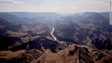 The Colorado River runs through Grand Canyon National Park in this aerial photograph taken above Grand Canyon, Arizona.