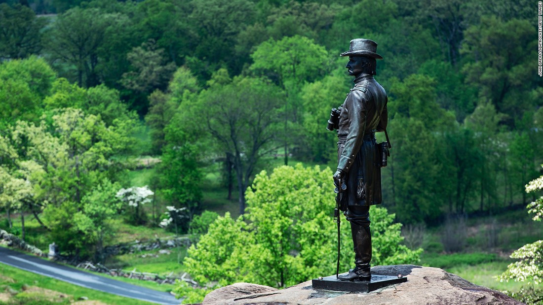 As part of that expansion, Roosevelt moved the War Department's parks and monuments to the National Park Service in 1933. A statue of Civil War Gen. Gouverneur Kemble Warren at Gettysburg National Military Park is shown here.