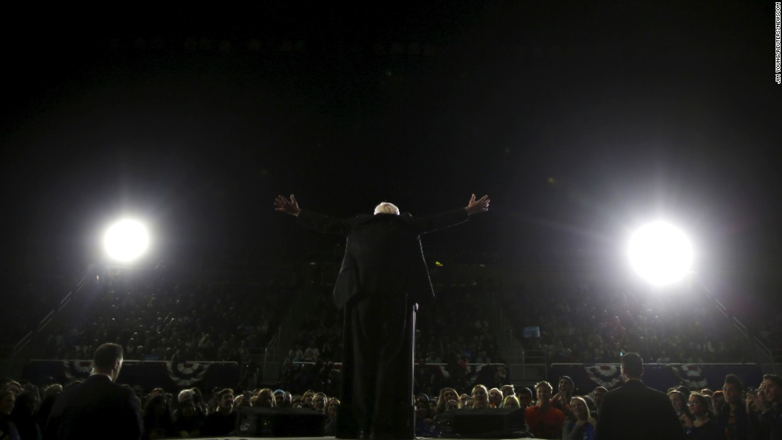 "U.S. Sen. Bernie Sanders, who is seeking the Democratic Party's presidential nomination, speaks at a campaign rally in Ann Arbor, Michigan, on Monday, March 7. Sanders <a href=""http://www.cnn.com/2016/03/08/politics/primary-results-highlights/"" target=""_blank"">won the state's primary</a> the next day, an upset that delivered a sharp blow to Hillary Clinton's hopes of quickly securing the nomination."