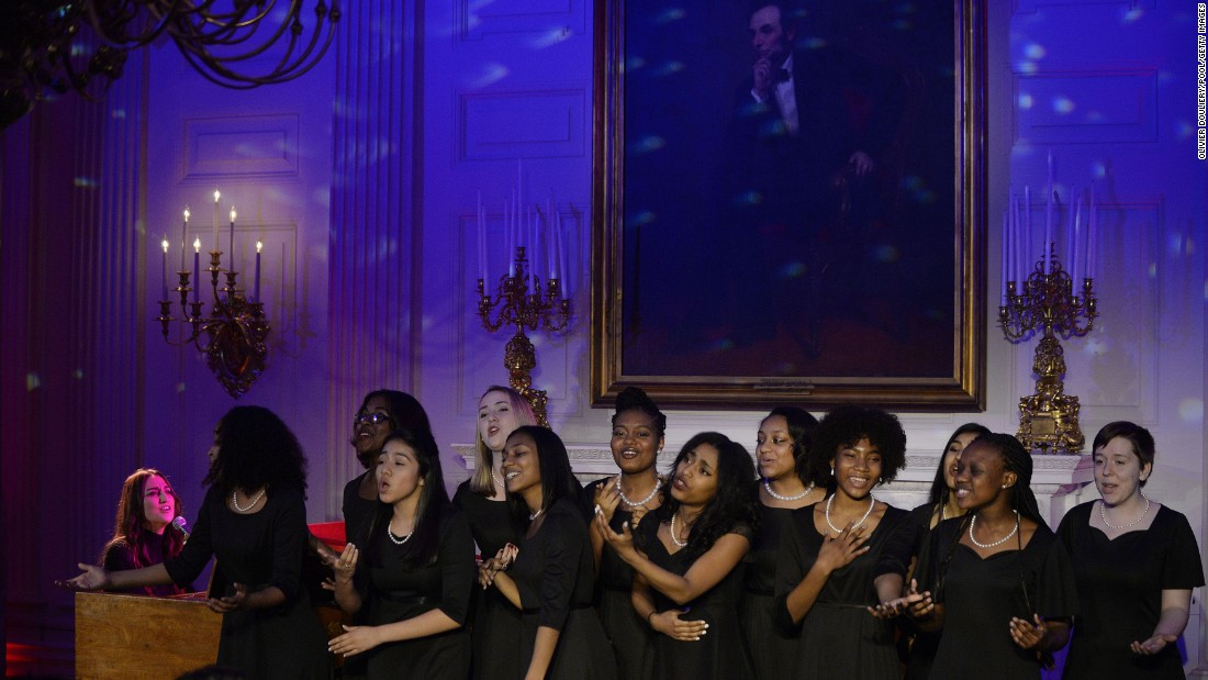 Singer-songwriter Sara Bareilles, left, performs during the state dinner at the White House on March 10.