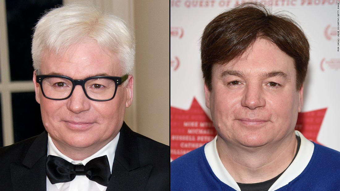 """Austin Powers"" comedian Mike Myers seems to have become a distinguished gentleman overnight. His visit to the White House state dinner welcoming Canadian Prime Minister Justin Trudeau was the first time many people saw Myers' new hair color, or lack thereof."