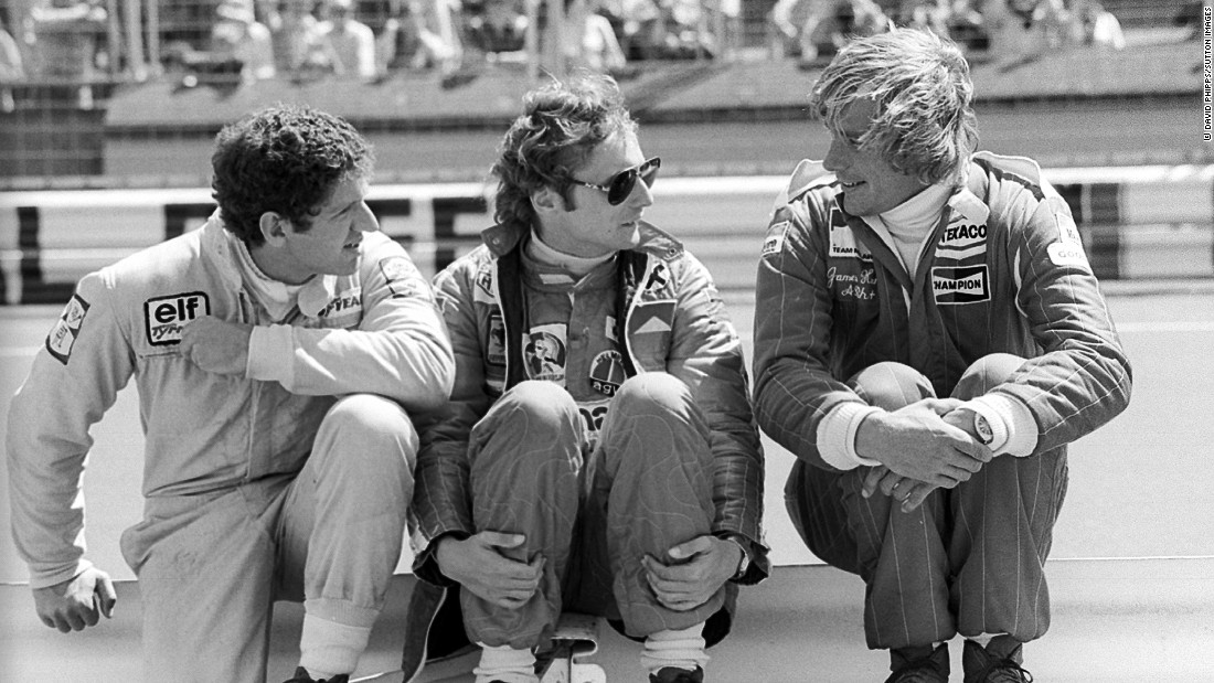 South African driver Jody Scheckter (left) talks with Lauda and  Hunt before the fateful 1976 German Grand Prix. Lauda was involved in a serious crash at the Nurburgring which left him with life-threatening injuries and extensive burns. Incredibly, the Austrian recovered and returned to action six weeks later at the Italian Grand Prix.
