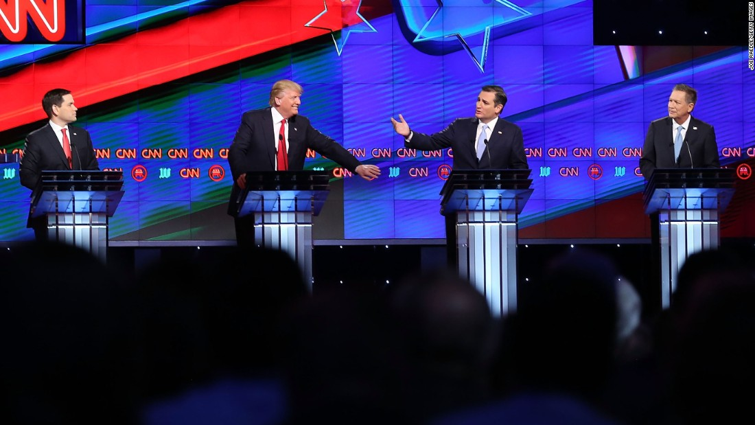 "Republican presidential candidates Sen. Marco Rubio, Donald Trump, Sen. Ted Cruz and Ohio Gov. John Kasich <a href=""http://www.cnn.com/2016/03/11/politics/republican-debate-takeaways/index.html"" target=""_blank"">debate on the campus of the University of Miami </a>on Thursday, March 10, in Coral Gables, Florida. The candidates continue to campaign before the March 15 primaries in Florida and elsewhere."