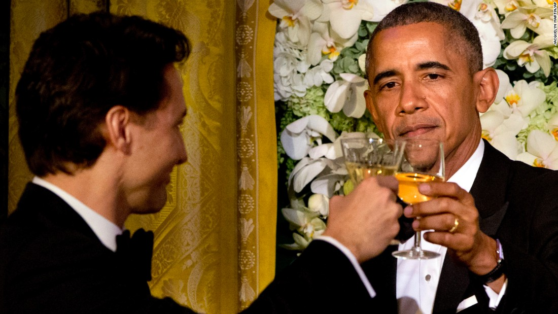 "President Barack Obama toasts Canadian Prime Minister Justin Trudeau <a href=""http://www.cnn.com/2016/03/10/politics/canada-state-dinner-menu-white-house/index.html"" target=""_blank"">during a state dinner</a> in the East Room of the White House on Thursday, March 10."