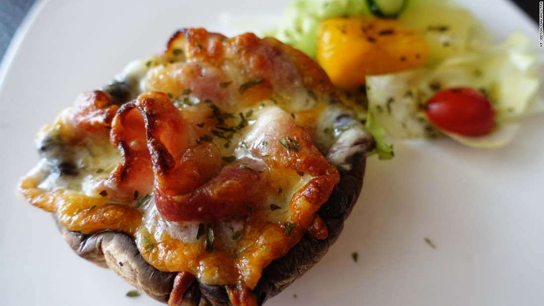 British Hainan's bacon and cheese Portobello melt is one of several menu stars.