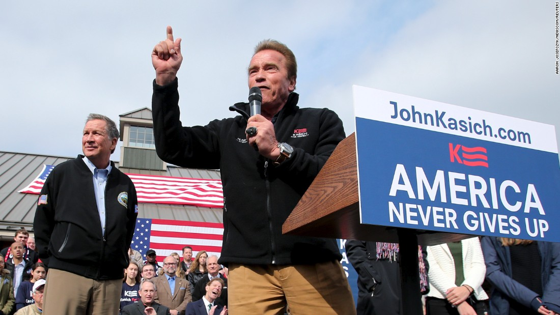 "<a href=""http://www.cnn.com/2016/03/06/politics/arnold-schwarzenegger-endorses-john-kasich/index.html"" target=""_blank"">Former California Gov. Arnold Schwarzenegger</a> speaks in support of Ohio governor and GOP presidential candidate John Kasich at a rally in Columbus, Ohio, on Sunday, March 6."