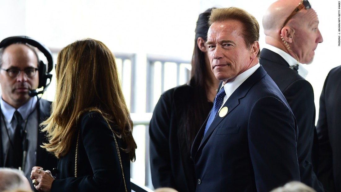 Former California Gov. Arnold Schwarzenegger and journalist Maria Shriver arrive.