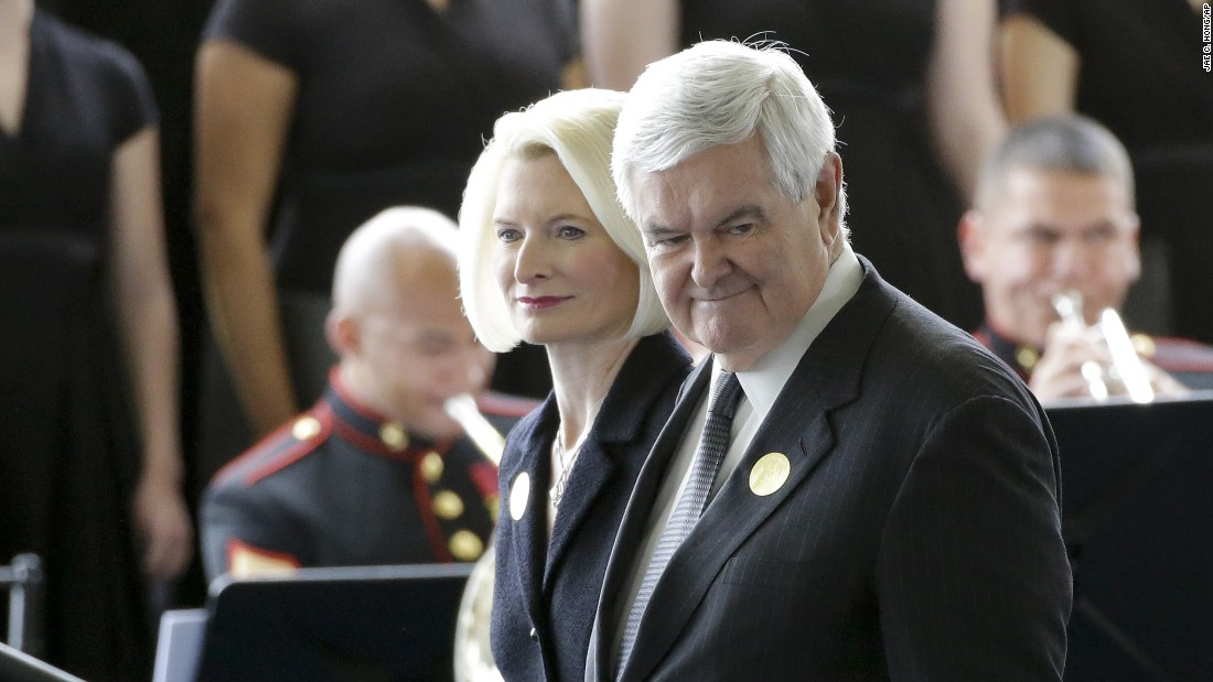 Former House Speaker Newt Gingrich and his wife, Calista, arrive.