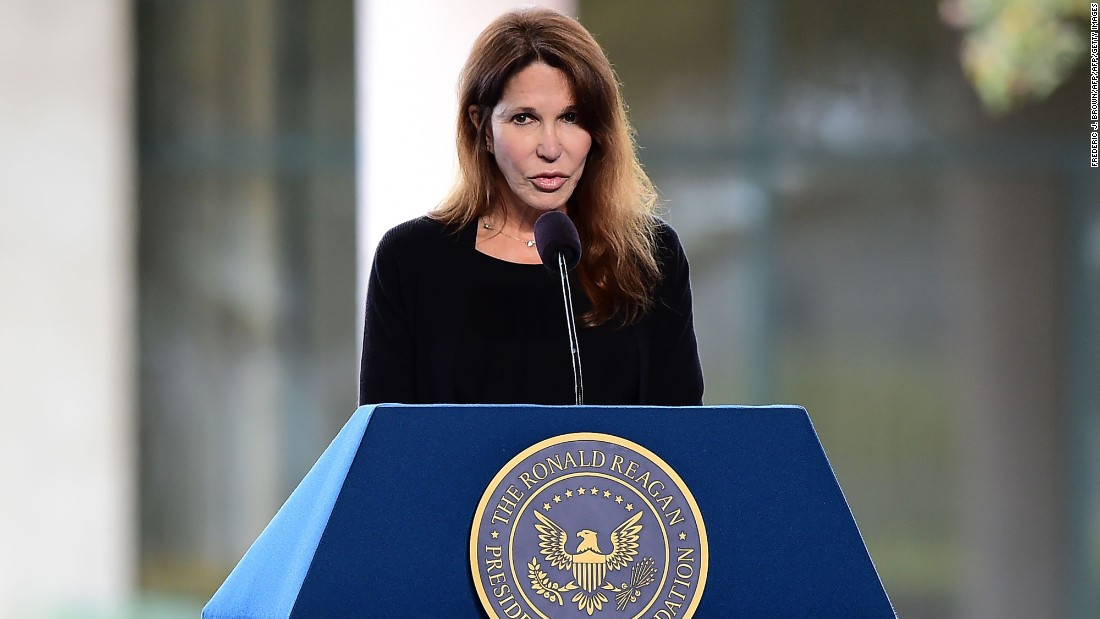 Patti Davis speaks during her mother's funeral.