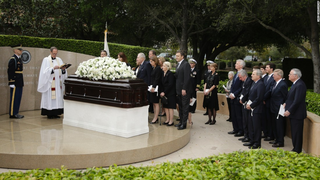 Family and close friends gather for a graveside service for Nancy Reagan at the Ronald Reagan Presidential Library, on Friday, March 11, in Simi Valley, California.