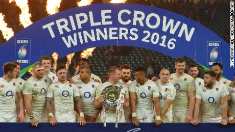 England won its second triple crown in three years and set up a grand slam shot in Paris next week.