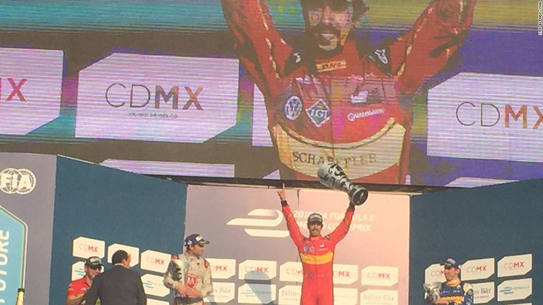 The arrival of Mexico's first Formula E race wasn't only for entertainment purposes. It was important for organizers to promote cleaner transport -- the cars are all powered by batteries and an electric motor. Lucas di Grassi (center) won the race but was disqualified later because his car was under the minimum weight.