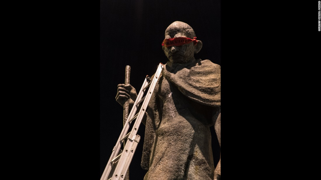 Indian civil rights and freedom movement leader Mahatma Gandhi's statue in the northeast of the city was one of the statues that was blindfolded.