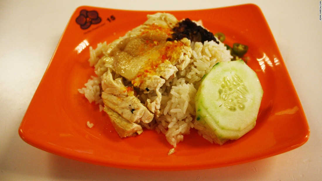 Hainanese chicken with rice and cucumber is considered a national dish of Singapore.