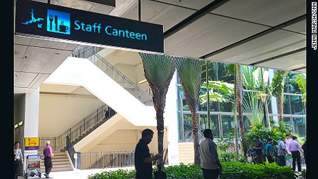 "A sign for the ""staff canteen""."