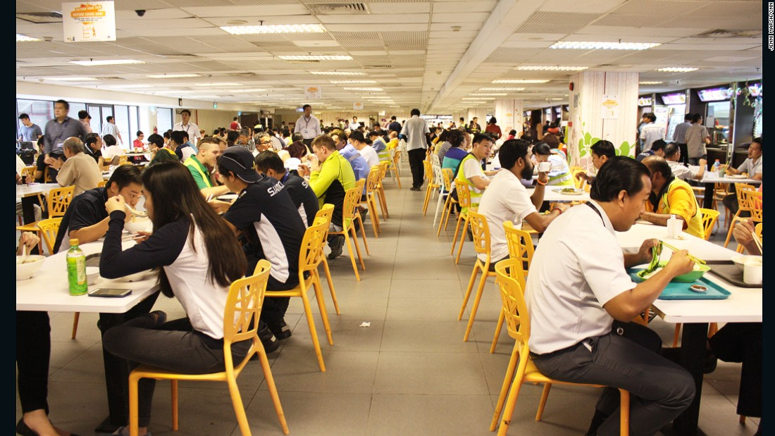 The staff canteen in Terminal 1 at Singapore Changi airport in full swing at lunchtime.