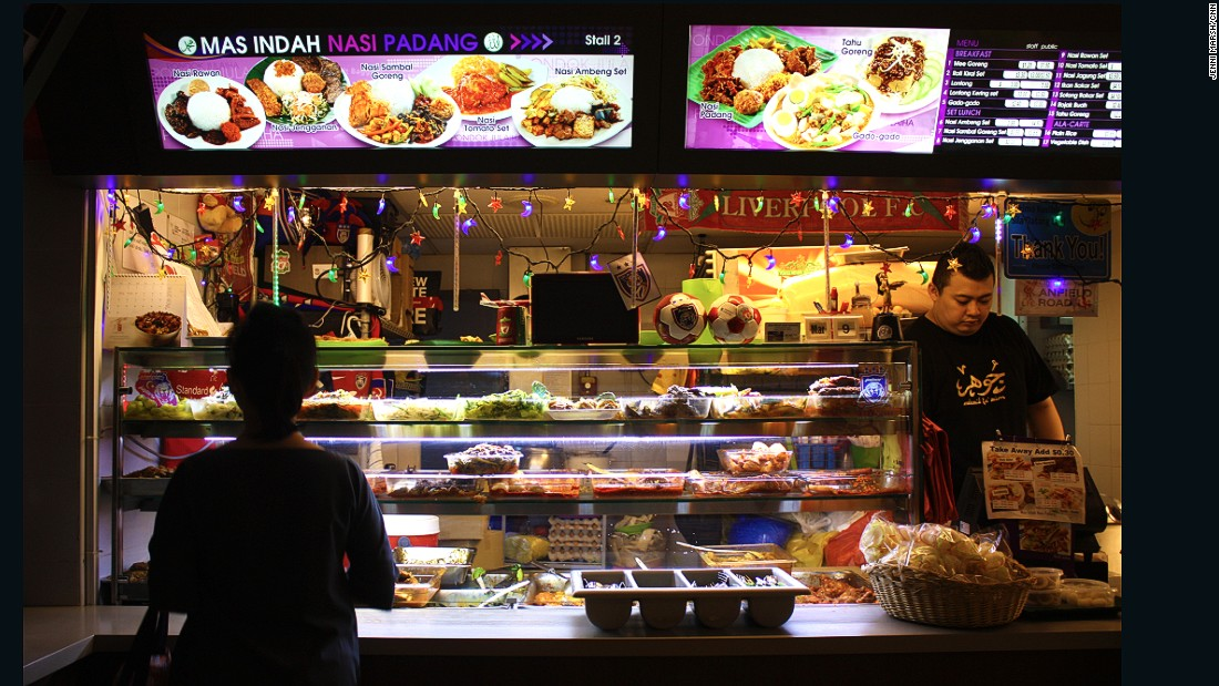 This Indonesian food stall has been personalized with colorful lights.