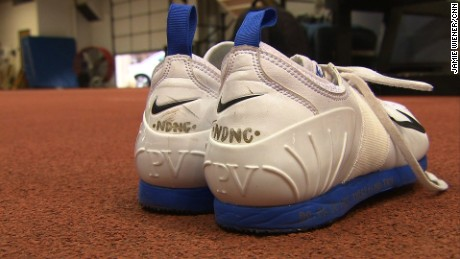 Charlotte Brown put her nickname 'NDNC' on the back of her cleats.
