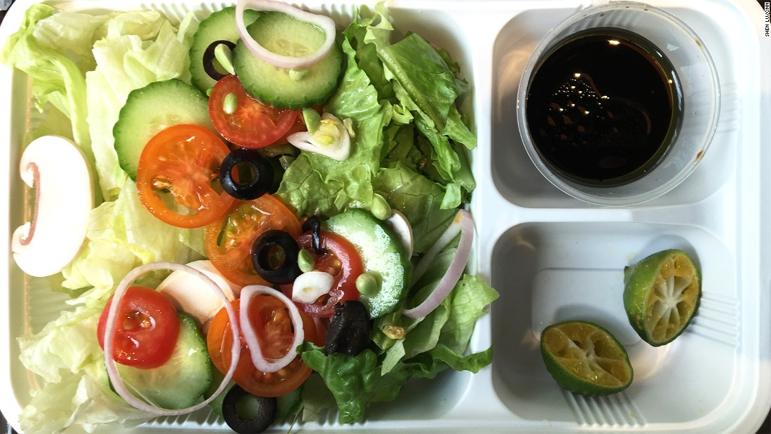The duck burger joint also offers a salad for those who want to eat healthy.