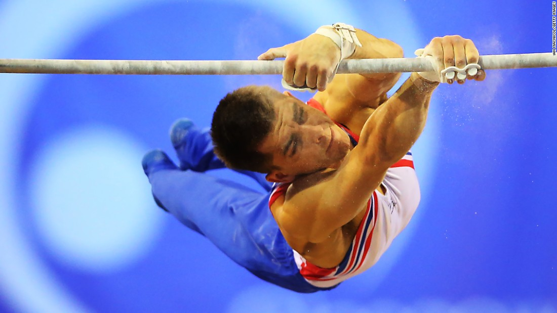 Max Whitlock of Great Britain competes on the high bar during the 2016 FIG Artistic World Cup at The Emirates Arena on Satruday, March 12, in Glasgow, Scotland.