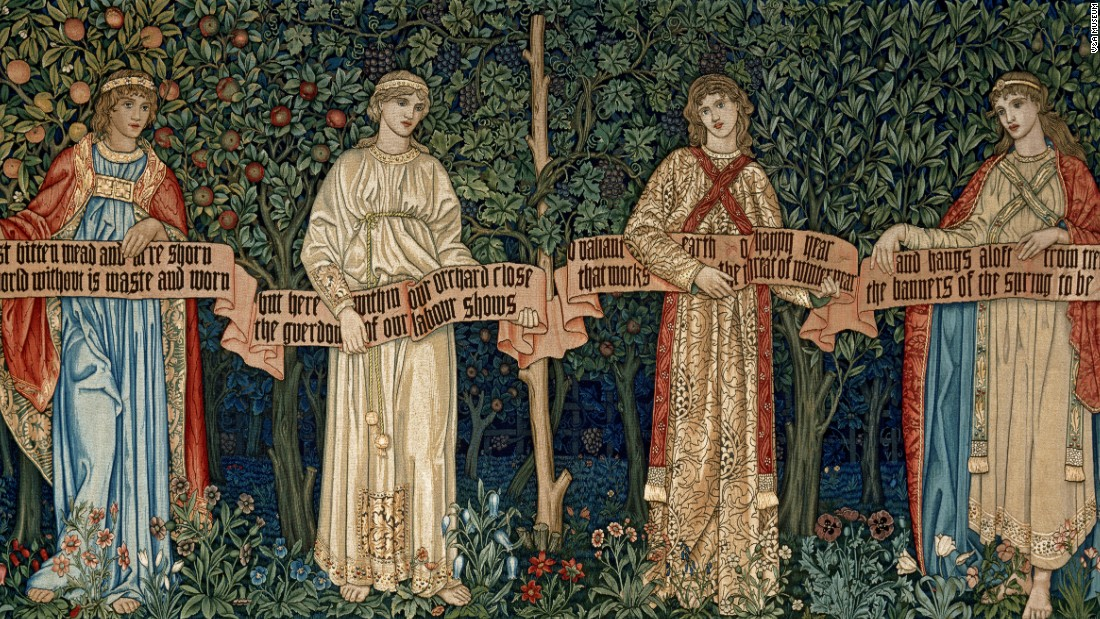 "Representing the four seasons in four allegorical women, Morris' tapestry starts in winter on the left, ending with spring on the right. Among the bluebells, tulips and daffodils, the figures, reminiscent of the tall elegant women in Botticelli's Primavera, hold a scroll bearing the words of ""The Orchard,"" a poem penned by the artist."